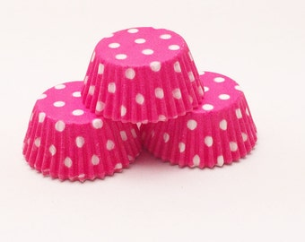 48 Hot Pink and White Polka Dots Standard Size Cupcake Liners Baking Cups Greaseproof