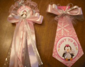 Mommy and Daddy Baby shower corsage winter wonderland set