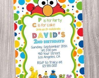 Elmo Invitation, Printable Invitation. Sesame Street Invitation. Digital file. Water bottle labels