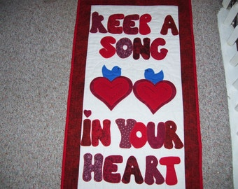 Valentine's Day wall quilt-message quilt-heart quilt-blue bird quilt-machine quilted