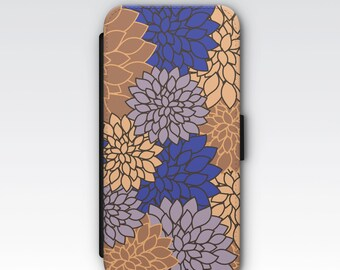 Wallet Case for iPhone 8 Plus, iPhone 8, iPhone 7 Plus, iPhone 7, iPhone 6, iPhone 6s, iPhone 5/5s - Blue & Brown Dahlia Floral Pattern Case