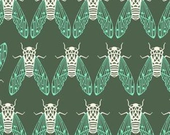 In Stock! Fat Quarter Raindrops -- Cicada Song in Forest by Rashida Coleman-Hale for Cotton and Steel