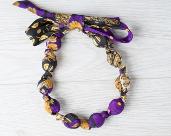 Silk fabric beaded necklace (3)