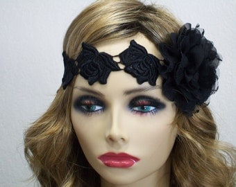 Great Gatsby Headband, 1920s Headband, Flapper Headpiece, 1920s Headpiece, 1920s Fashion, Black Rose Headband, 1920s Hair Accessory