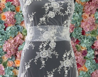 """060138 Sold by 1/2 yard Ivory corded beaded french Bridal Lace Fabric52"""" Scalloped free delivery uk"""