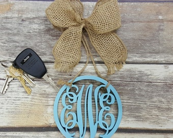"Car Charm - Car Monogram - Rear View Mirror Monogram - 4.5"" Painted Monogram with Burlap Bow - Circle Border"