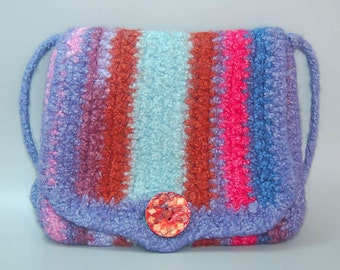 Silk and Merino felted crochet purse