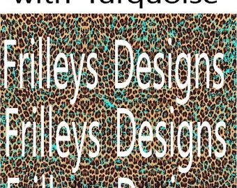 Cheetah, Pattern Vinyl with Turquoise Distress, HTV, Outdoor Permanent, Pattern Vinyl, Leopard