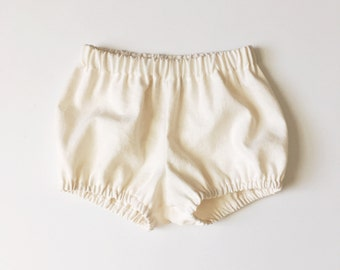cream white linen bloomers baby toddler bloomer shorts