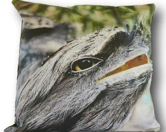 TAWNY FROGMOUTH Cushion Cover, animal pillow, animal cushion, wildlife cushion, decorative pillow, unique photo cushion, australian