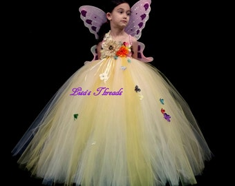Sun flower Fairy dress/ Fairy gown/ Champagne/yellow flower girl dress (custom colors available)