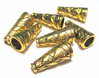 10pcs Antique Gold Cone Bead Caps End Caps Tassel Caps Kumihimo Caps