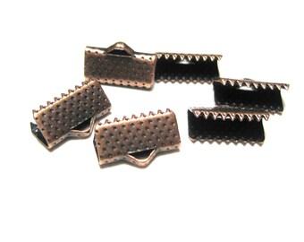 30pcs Antique Copper Textured Pinch Crimps Cord Ends Ribbon Crimps Ribbon Ends 13x7x5mm