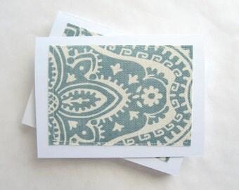 Notecard set, fabric notecards, blank, aqua dakota cadet, set of 8 (CA16-002)