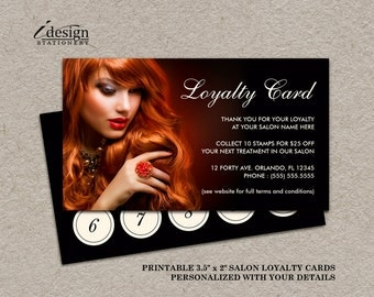 Hair Salon Loyalty Card | Printable Hair Stylist Or Hairdresser Reward Cards | Professional Salon Punch Card Templates