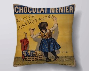 Chocolat Menier Vintage- Customizeable Personlized   -Cushion Fabric Panel Or Case or with Filling