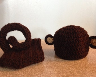 Newborn Monkey Photo Prop Hat and Diaper Cover
