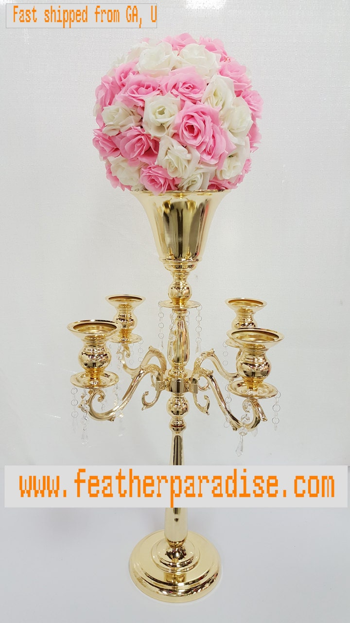 Inches gold silver large arm metal candelabra floral