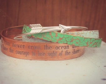 You Can Never Cross The Ocean Unless You Have The Courage To Lose Sight Of The Shore, Personalized Set of Cuffs, Stacked and Layered