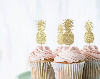 pineapple : cupcake toppers [set of 12]