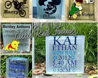 Custom personalised glass block. Kids room decor. Birthday gift. Unique decoration. Display item. Baby shower gift. Christening gift