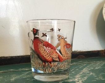 Vintage retro shot glass, pheasant lowball glass, retro barware