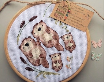 Cross stitch pattern - sea otter, otters holding hands, otter print, embroidery pattern, hand embroidery, sewing patterns, anniversary gift