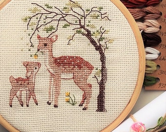 Cross stitch kit - deer, embroidery kit, DIY kits, mother and daughter, cross stitch kit baby, wild fawn, deer print, cross stitch patterns