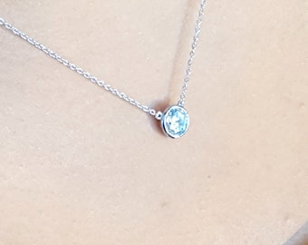Solitaire Necklace with CZ - 925 Sterling Silver  - 3 sizes available 0.25ct , 0.50ct , 1.00ct