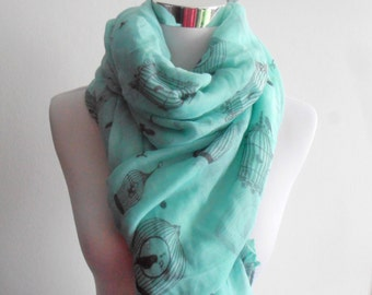 Mint Cotton Scarf Green Birdcage Long Wrap, Cotton Spring Long Shawl, Fashion Accessories, Lightweight Scarf, Women Scarves, Gift for her