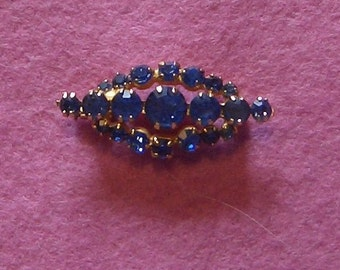 vintage blue sparkling brooch