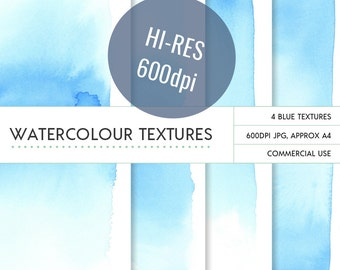 Blue hi resolution ombre watercolor backgrounds, unlimited commercial use