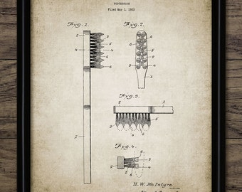 Toothbrush Patent Print - Vintage 1934 Toothbrush Design - Dental Care - Dentist Art - Bathroom Art - Single Print #1185 - INSTANT DOWNLOAD