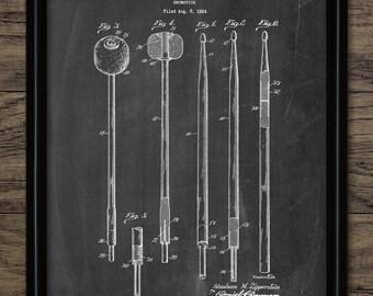 Drumstick Patent Print - 1929 Drumstick Design - Drum Kit Equipment - Drummer Gift Idea - Single Print #2190 - INSTANT DOWNLOAD