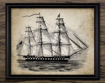 USS Constitution Art Print - United States Warship - Tall Ship - Sailing Ship Art - Vintage Ship - Single Print #547 - INSTANT DOWNLOAD