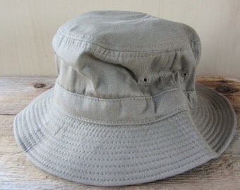 Vintage 90s Bucket Hat Young An Blank Beige Khaki Roll Up Fishing Deadstock Minimal Cap One Size Fits Most
