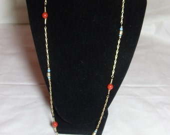 SALE Long Gold Avon necklace, Gold chain with red and blue beads, Southwestern gift for her, vintage Avon jewelry, Gingerslittlegems