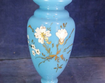 Victorian Hand Painted Opaque Glass Salon Vase c.1900 [7505]