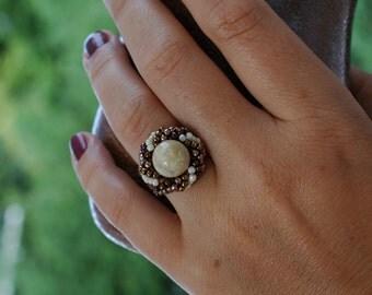 Beaded beadwork Spiral Ring , Beadwoven Spiral Statement Ring ,Yellow Jade Gemstone Ring