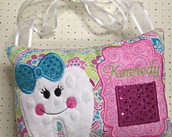 Girls Custom Tooth Fairy Hanger - Girls Tooth Fairy Pillow - Girls Tooth Pillow with Pocket