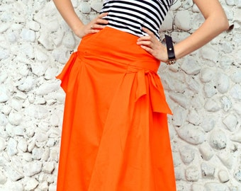 Extravagant Orange Skirt / Funky Cotton Skirt / Orange Flared Long Skirt / Orange Summer Skirt TS10 / S/S 2016