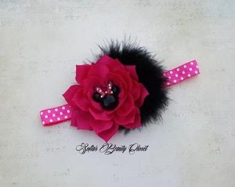 Minnie mouse headband. Minnie headband. Minnie mouse birthday. Pink Minnie mouse headband. Pink Minnie mouse birthday. Hot pink headband
