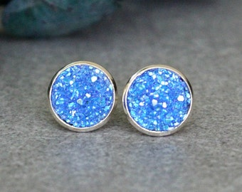 Blue Stud Earrings for Women, Blue Druzy Earring Studs, Blue Post Earrings, Blue Earrings, Blue Studs, Blue and Silver Earrings 10MM Earring
