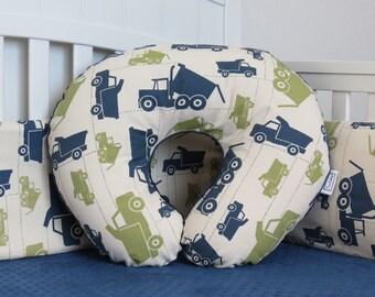 Truck and Minky Boppy Cover - Boppy Pillow Cover, Nursing Pillow, trucks, toy trucks, dump truck, construction