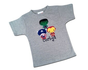 Boy's Gray  Superhero Birthday Shirt with Superhero Trio and Embroidered Name