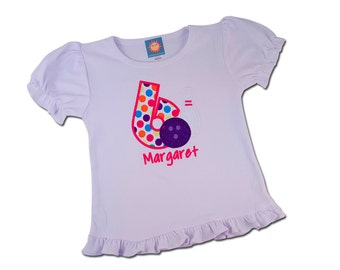 Girl Bowling Birthday Shirt with Number and Embroidered Name