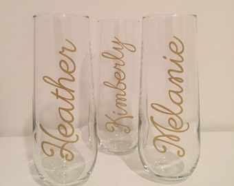 Set of four glass wedding bridal party stemless champagne flutes
