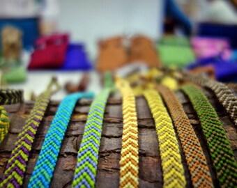 Handmade colourful natural friendship bracelets 15.5 cm