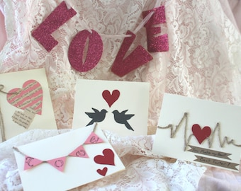 Pack of five handmade valentives day cards