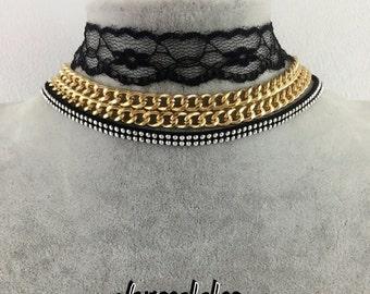 layered lace choker set